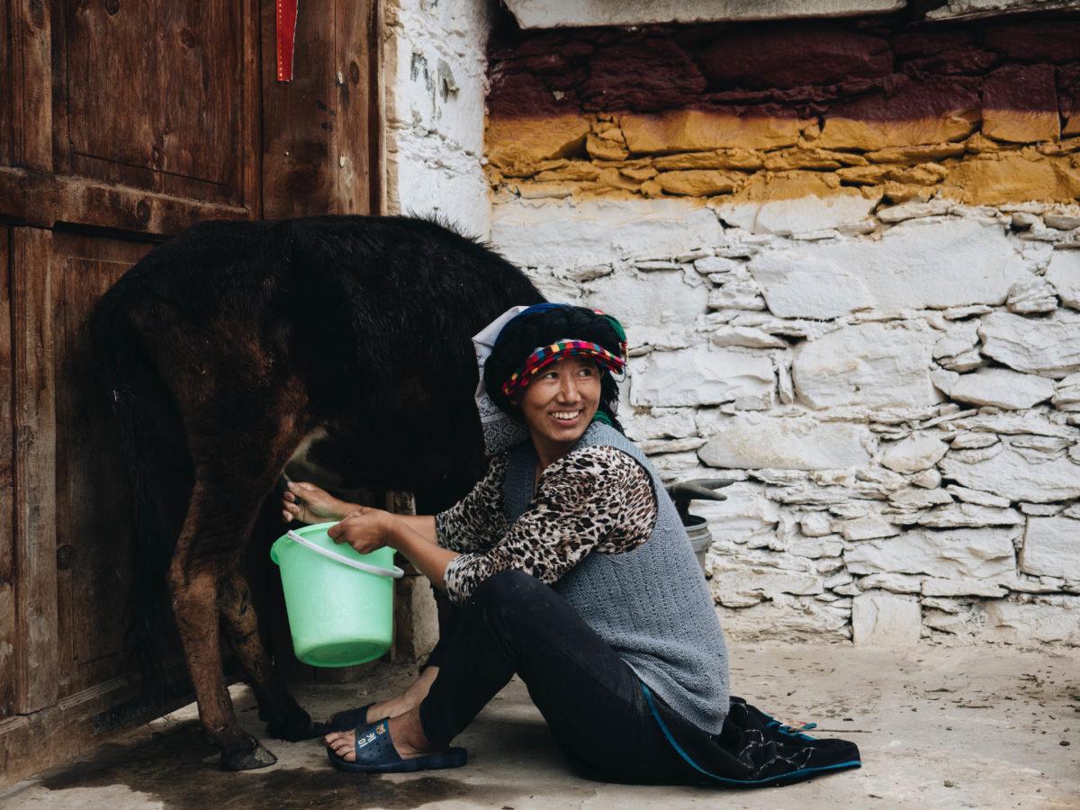 Im Danba-Tal lebt die tibetische Minderheit noch nach alter Tradition, nur wenige Touristen verirren sich hierher / Bild: Sichuan, Danba Valley, Tibetan Women - Copyright Frauke Hameister