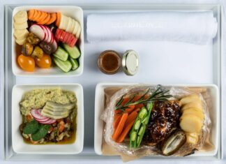 L AL Israel Airlines – New Business Class Menu_Grilled artichoke with chimichurri, Cooky Bag Spring Chicken