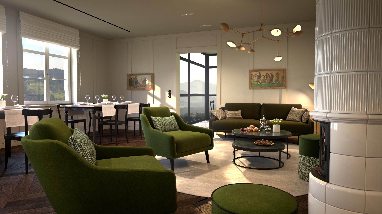 Alpenloge Restaurant und Wohnzimmer / Bild: ViewMasterCGI